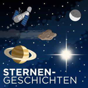 Sterne, Saturn und Hubble-Teleskop als Zeichnung