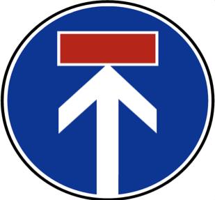 Verkehrsschild Kombination aus Fahrtrichtung geradeaus und Sackgasse