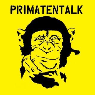 Silhuette eines Schimpansen auf gelben Hintergrund