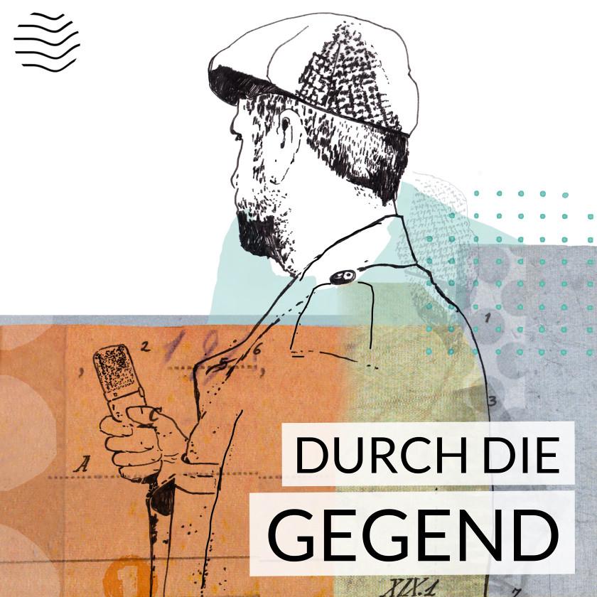 Zeichnung Reporter mit Mütze und Mikrophon von hinten